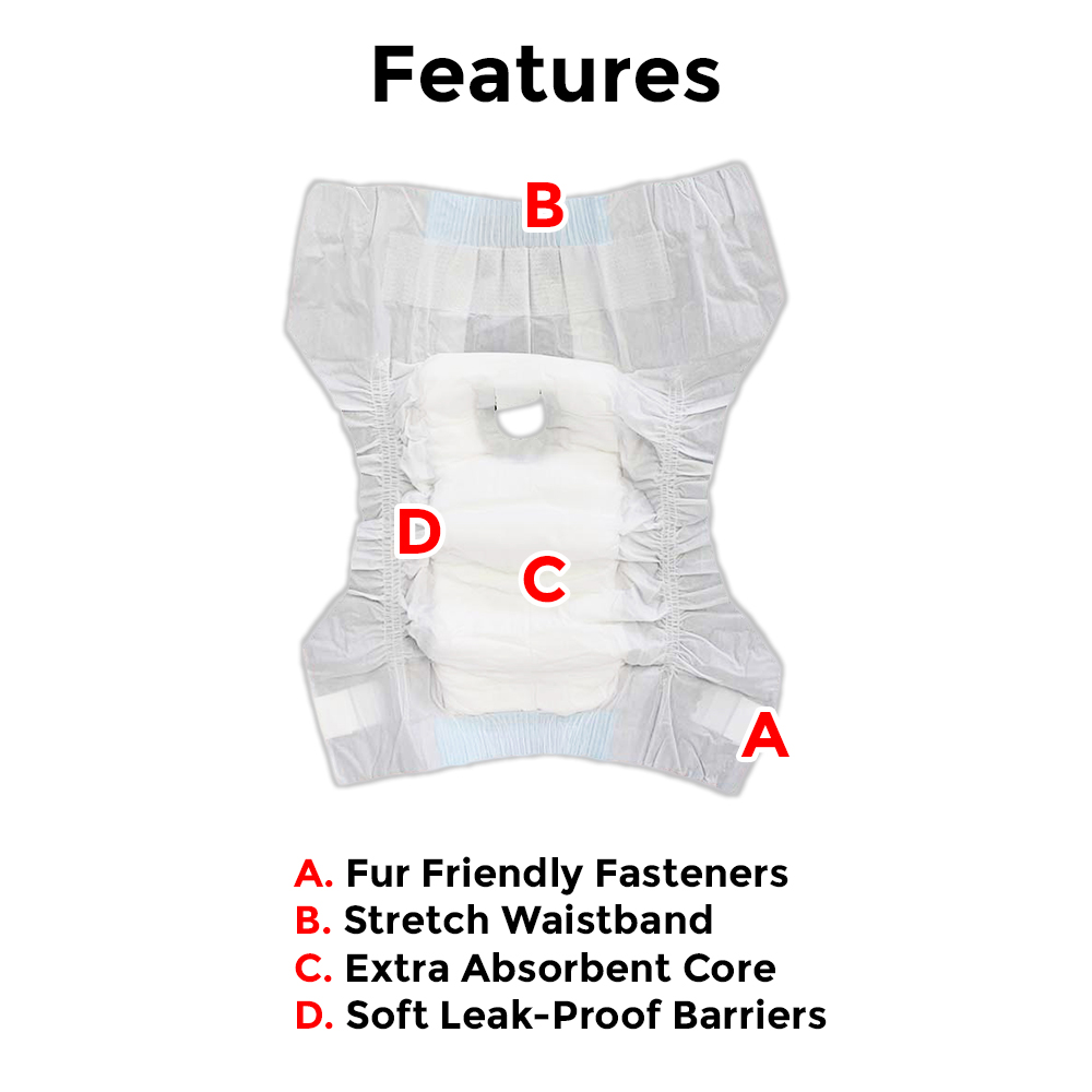 Disposable Diapers For Dogs - Package of 10 diapers
